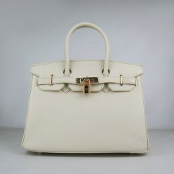 Hermes Handbags Birkin 30 CM Off White Lichee Pattern Bag