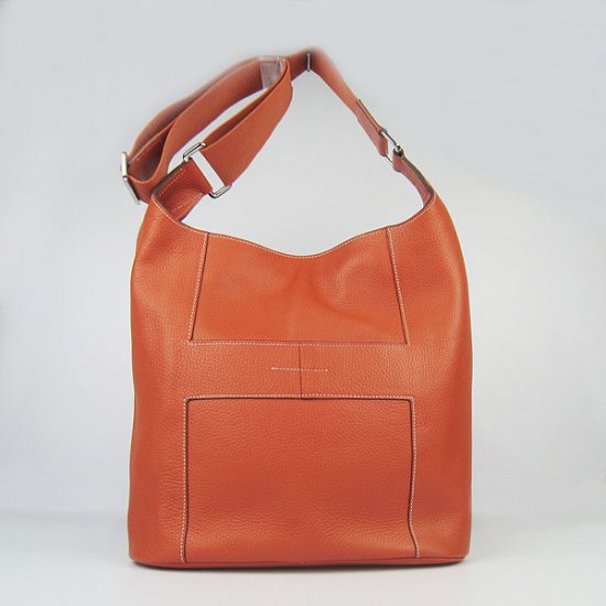 Hermes Handbags Picotin H2801 Orange Cowskin Leather Silver Hardware Bag - Click Image to Close