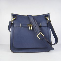 Hermes Handbags Jypsiere Dark Blue Cowskin Leather Gold Hardware Bag