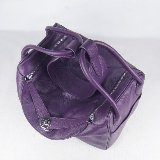 Hermes Handbags Lindy Purple Cowskin Leather Silver Hardware Bag - Click Image to Close