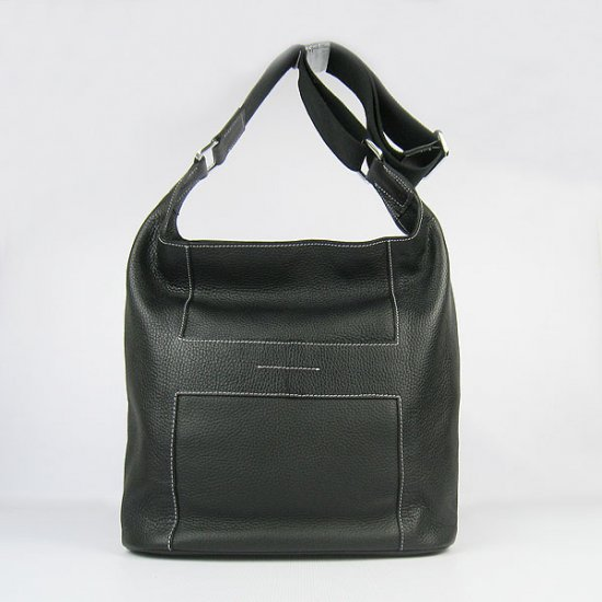 Hermes Handbags Picotin H2801 Black Cowskin Leather Silver Hardware Bag - Click Image to Close
