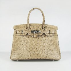 Hermes Handbags Birkin 30 CM Apricot Crocodile Scalp Bag