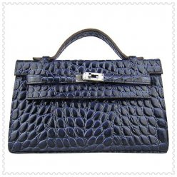 Hermes Handbags Kelly 22CM Navy Fish Stripe Leather Silver Hardware Bag