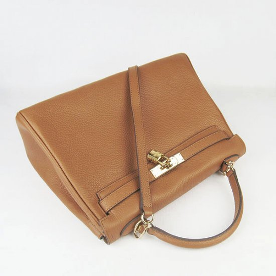 Hermes Handbags Kelly 32 CM Brown Lichee Pattern Leather Gold Hardware Bag - Click Image to Close