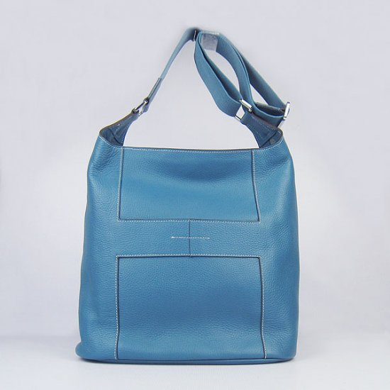Hermes Handbags Picotin H2801 Blue Cowskin Leather Silver Hardware Bag - Click Image to Close