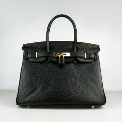 Hermes Handbags Birkin 30 CM Black Ostrich Stripe Bag