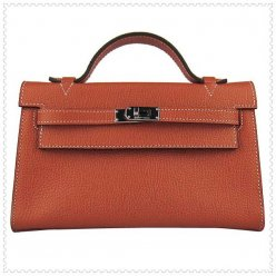 Hermes Handbags Kelly 22CM Brown Lichee Stripe Leather Silver Hardware Bag