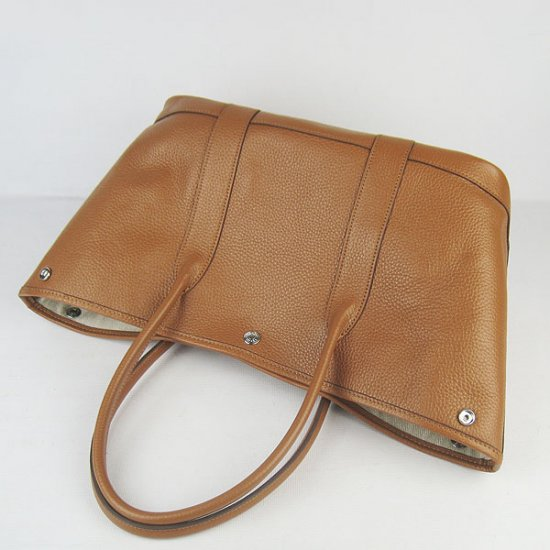 Hermes Handbags Garden Party H2808 Light Brown Cowskin Leather Silver Hardware Bag - Click Image to Close