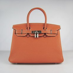 Hermes Handbags Birkin 30 CM Orange Lichee Pattern Bag