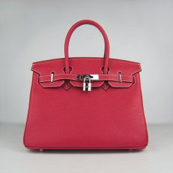 Hermes Handbags Birkin 30 CM Red Lichee Pattern Bag