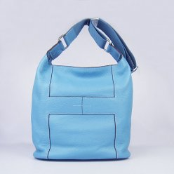 Hermes Handbags Picotin H2801 Light Blue Cowskin Leather Silver Hardware Bag